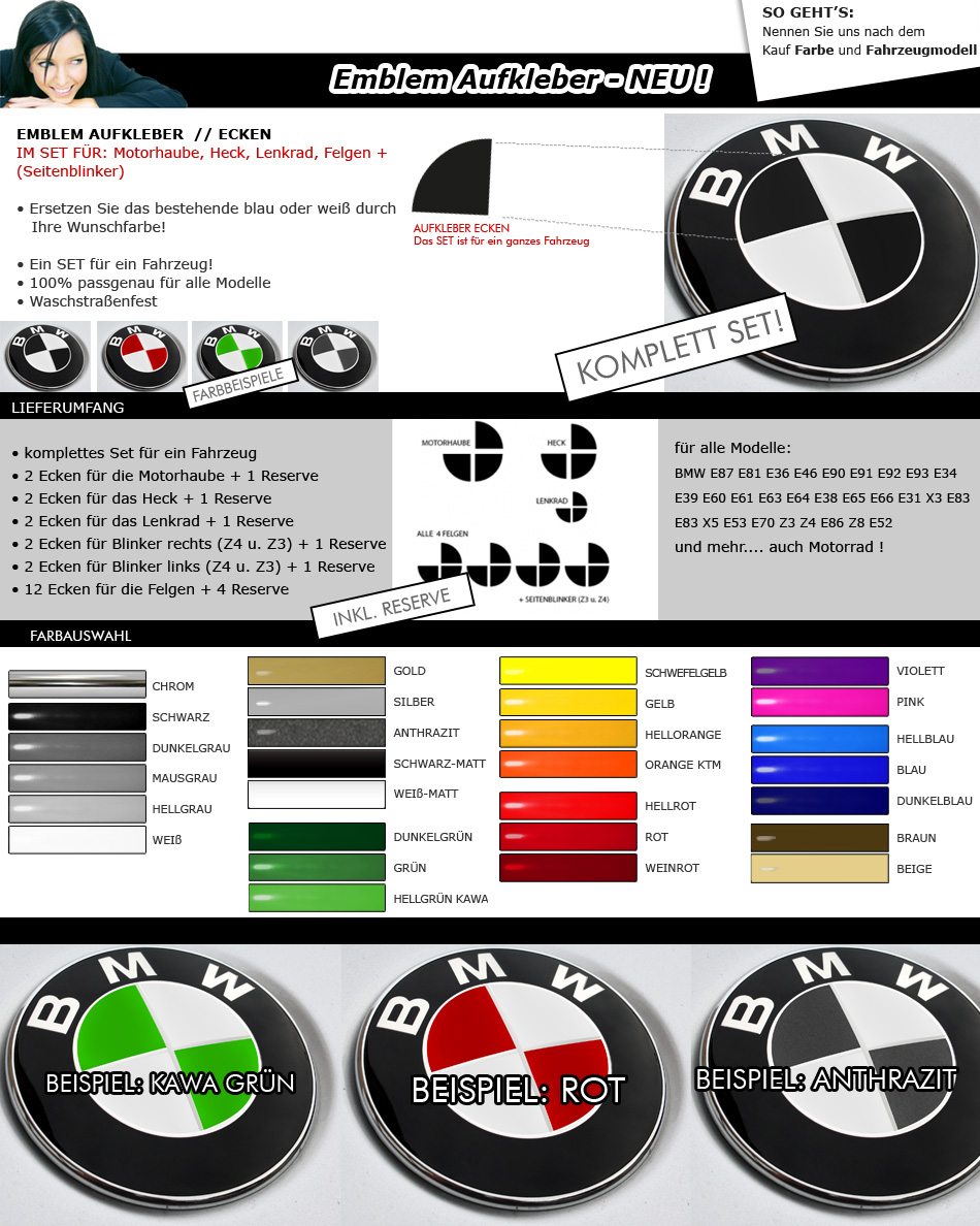emblem aufkleber bmw e36 e46 e90 e91 e92 e93 e60 e81 e87. Black Bedroom Furniture Sets. Home Design Ideas